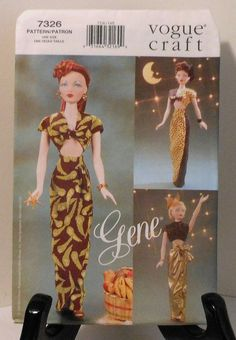 Vogue Craft GENE Doll 40's Style Clothes Sewing Pattern UNCUT 7326 top skirt. $18.00, via Etsy.