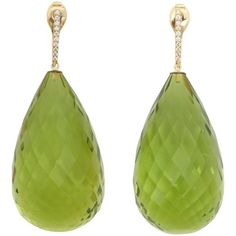 Faceted Green Amber Diamond Gold Drop Earrings (4,960 NZD) ❤ liked on Polyvore featuring jewelry, earrings, green, yellow gold drop earrings, amber earrings, holiday earrings, gold earrings and diamond jewelry