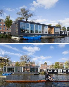 11 Awesome Examples Of Modern House Boats // Large floor to ceiling windows and a large open area provide this house boat with lots of natural light and uninterrupted views of the river outside.