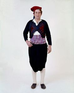 """Saronic Islands: Hydra men's costume """"Man's costume from the island of Hydra. This costume to be met with variations all over the Aegean. It has the characteristic buggy trousers the """"vraka"""". Greek Dancing, Baggy Trousers, Folk Clothing, Dance Costumes, Greek Costumes, Florida, Folk Costume, Costume Design, Men Dress"""