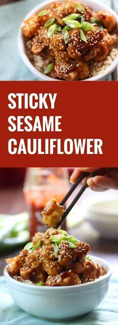 This vegan sticky sesame cauliflower is batter dipped and baked (instead of fried!) before being drenched in a sweet and spicy sesame sauce and served over a bed of rice.
