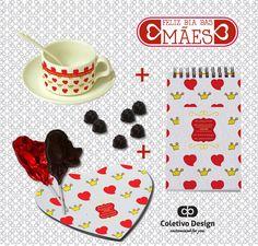 Dia das Mães - Customized For You  Coletivo Design - Bloquinho Personalizado + Mousepad Personalizado + Xícara Personalizada (com pires e colher) + 2 Pirulitos de Chocolate + 6 Bombons