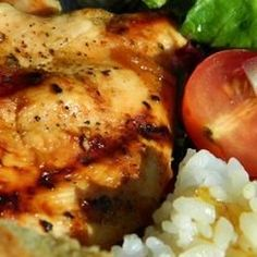 Grilled Chicken with Peach Sauce - I'll bet it would be great with aprocits and apricot preserves too  (CPM)