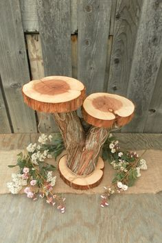 Double Tiered Cake Stand Juniper Wood Cake Stand by CountryChapel