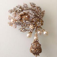Large Mint Vintage Miriam Haskell Beaded Pearl Rhinestone Brooch Pin | eBay