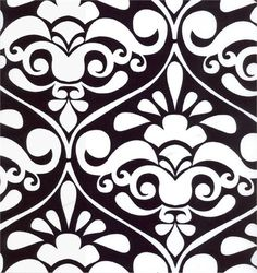 Fabric by the Yard - Black & White Damask