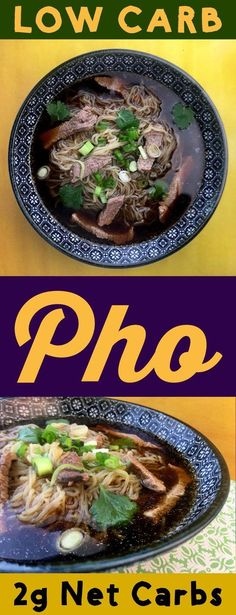 This is a quick low carb take on Beef Noodle Pho. Authentic pho is an all day affair where you make the special infused broth from scratch. But you can get close enough to it by infusing store bought beef broth with the same aromatics. This soup recipe uses Shirataki or Miracle Noodles it only has 2g net carbs per bowl. It is Keto, Atkins, Low Carb, Ketogenic, THM-S, LCHF, Gluten Free and Sugar Free compliant. #resolutioneats #lowcarb #keto #pho #soup
