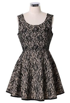 #Chicwish  Floral Lace A-Line Dress in Black Nude