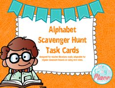 Library Task Cards, Introduction to the LibraryThis pack includes 26 scavenger hunt cards and a printable answer sheet allowing students to record up to twelve answers.The purpose of this scavenger hunt is to familiarize the students with the library, using the alphabet.