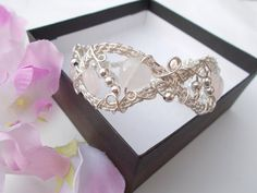 Rose quartz bracelet  wire wrapped bracelet by KTGemstoneCreations