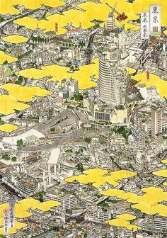 tokyo in exploded axo by hlian, via Flickr