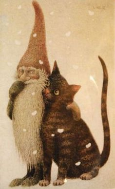Cats in Art and Illustration: Lennart Helje. Art And Illustration, Photo Chat, Fairy Art, Whimsical Art, Pixies, Gnomes, Cat Art, Illustrators, Folk Art