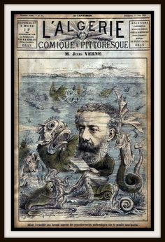 "Vintage French Periodical Magazine Cover ""L'algerie"" featuring Jules Verne…"