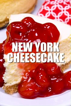 This New York Cheesecake is the best I've ever had! No cracking, no sinking top, no thick brown crust. A perfectly flat cheesecake that is tasty plain or with fruit! #dessert #cheesecake #newyork #newyorkcheesecake #cherrycheesecake #fruitcheesecake #plaincheesecake #nocracking #nosinking #flattop #nowaterbath #perfectcheesecake #recipe #numstheword