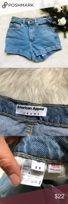 American Apparel High Waist Shorts This short is in excellent condition! Size 25  Waist is approx 12.5 inches  Inseam is approx 2 Inches  Rise is approx 12 inches  Smoke and pet free home! No flaws like stains or holes! No modeling No trades! American Apparel Shorts Jean Shorts