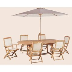 Royal Craft St Tropez 6 Seater Dining Set with Parasol