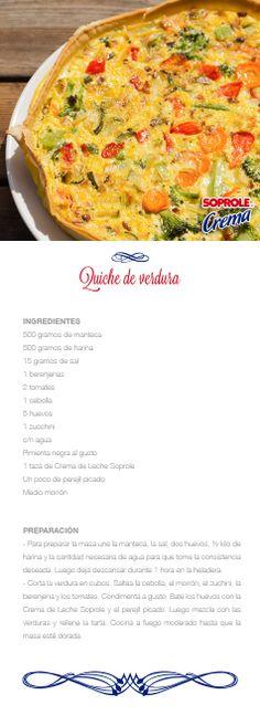 Quiche de Verduras Quiches, Vegetable Quiche, Diet Recipes, Cooking Recipes, Smoothies, Delish, Grilling, Meals, Dinner