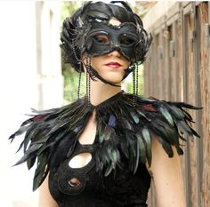 black rooster   feathers  with red & purple feathers at collar shall.Shoulders  Feathers cape . gothic decadence costume ,vintage capelet .