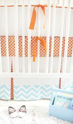 Baby Bedding Orange, Orange Baby Crib Bedding, Orange Baby Bedding Sets, Orange and Blue Baby Bedding