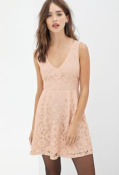 Forever 21 Blush Pink Lace Dress V Cut Fl The Third Photo Shows Actual In Size Small