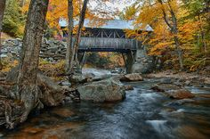 The flume gorge covered bridge from a different view. You can do a short two mile loop and see this covered bridge and the Sentinel walking bridge