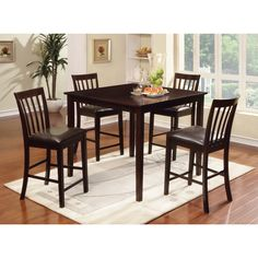 Furniture of America Laguna Espresso Modern Counter-height 5-piece Dining Set (Espresso), Brown, Size 5-Piece Sets