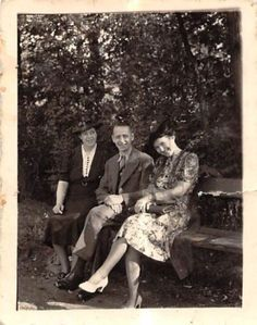 Photograph Snapshot Vintage Black and White: Family Dress Forest Smile 1940's
