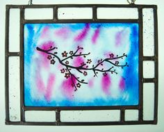 Stained glass  Window panel  Suncatcher  by TuulaGiraldoArtGlass