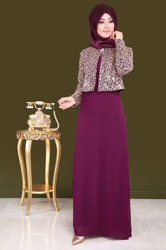 ** BÜYÜK BEDEN MODASI ** Ceketi Pul Payet 2'li Şifon Abiye Şarabi Ürün kodu: CNG2943 --> 159.90 TL Islamic Fashion, Muslim Fashion, Abaya Fashion, Fashion Dresses, Muslim Long Dress, Simple Hijab, Dress Brokat, Modele Hijab, Saree Gown