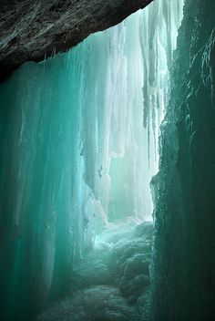Behind frozen Minnehaha Falls, Hennepin County, Minnesota ~ by Heinrick Oldhauser