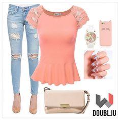 SJSP Cap Sleeve Lace Shoulder Designed Shirring Flare Top #doubljuwomen #womenfashion #springlook #summerlook #summerstyling #dailylook