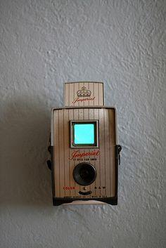 Vintage camera turned into a nightlight