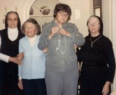 Rose and Rosemary Kennedy with Rosemary's caretakers Sister Charles and Sister Paulus.