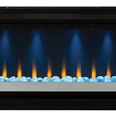 ClassicFlame Contemporary Built-in Electric Fireplace Insert, 120 volt Fireplace Kits, Linear Fireplace, Backyard Fireplace, Fireplace Inserts, Modern Fireplace, Fireplace Design, Tiled Fireplace, Contemporary Electric Fireplace, Built In Electric Fireplace