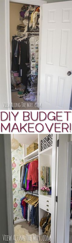 LOVE this girly-glam closet makeover! Learn how to make your dream closet on a tiny budget!: LOVE this girly-glam closet makeover! Learn how to make your dream closet on a tiny budget! Master Closet, Closet Bedroom, Closet Space, Home Bedroom, Bedroom Decor, Bedroom Ideas, Closet Redo, Bedroom Hacks, Master Bedrooms