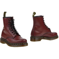Dr. Martens Ankle Boots ($132) ❤ liked on Polyvore featuring shoes, boots, ankle booties, maroon, leather bootie, military boots, round toe ankle boots, combat boots and leather ankle booties