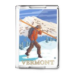 Vermont - Skier Carrying Skis - Lantern Press Artwork (Acrylic Serving Tray)
