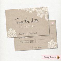 Außer dem Datum Postkarte Spitzen & Leinen Hochzeit Einladung
