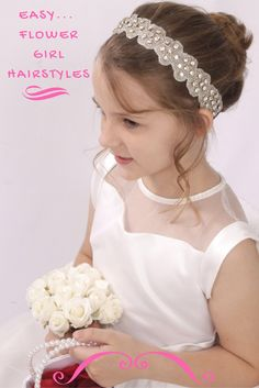 Such an easy way to add sparkle to wedding hair for any flower girl! Bridesmaid Hair Flowers, Bridesmaid Hair Medium Length, Flowers In Hair, Flower Girl Hairstyles, Wedding Hairstyles, Medium Hair Styles, Curly Hair Styles, Flower Girl Hair Accessories, Blonde Updo
