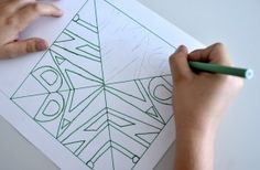 Symmetry & Repetition: create an abstract design by drawing your name and repeating.