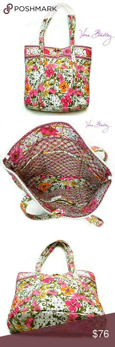 """VERA BRADLEY BEAUTIFUL SPRINGTIME LARGE TOTE VERA BRADLEY BEAUTIFUL SPRINGTIME LARGE TOTE Pre-Loved  / EUC Beautiful  Floral Vibrant Colors of Flowers & Decorative Patterns on Quilted Fabric Cloth Tie with A Tourtishell Color Knob  2 Attached Fabric Handles Approx Meas;    *   H   14""""    *   L   17""""    *   W   6""""    *   Drop   12"""" Pls See All Pics. Ask ? If Not Sure Vera Bradley Bags Totes"""