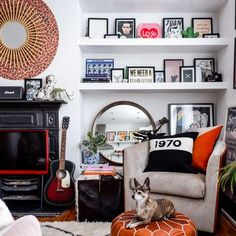 Living Room Design Ideas: Layout, Styling, Space, and Storage | Hunker Living Room 70s, London Living Room, Bohemian Living Rooms, Mid Century Living Room, Eclectic Living Room, Bohemian House, Living Area, Mid Century Cabinet, Sainsburys Home