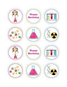 Set Of 12 Personalized Mad Science Cupcake by KiddieCreations1, $10.00
