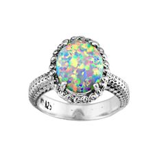 Opal ring silver opal ring opal gemstone ring by QueenyJewelry, $59.00