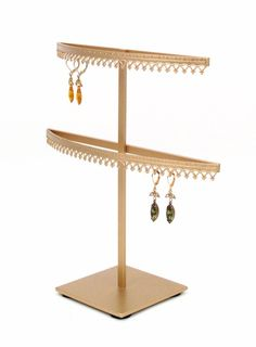Amazon.com: Royal Crown Display 2 Tier earring organizer stand with crown molding - Gold: Home & Kitchen