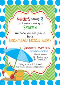 Backyard Birthday Beach Bash! Printable Party Invitationss by BluegrassWhimsy, $15.00