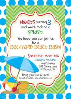 Backyard Birthday Beach Bash! Printable Party Invitationss by BluegrassWhimsy, $15.00