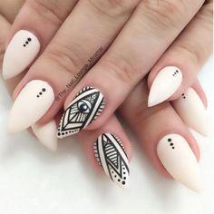 Black And White Tribal Matte Nail Art