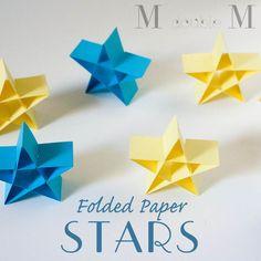 Folded paper stars (DIY) / Etoiles de Noël en papier - no instructions Diy Origami, Origami Paper, Diy Paper, Paper Crafting, Paper Art, Origami Boxes, Dollar Origami, Origami Ball, Kirigami