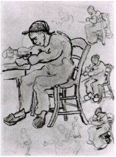 Sheet with People Sitting on Chairs  Vincent van Gogh Drawing, Pencil Saint-Rémy: March - April, 1890